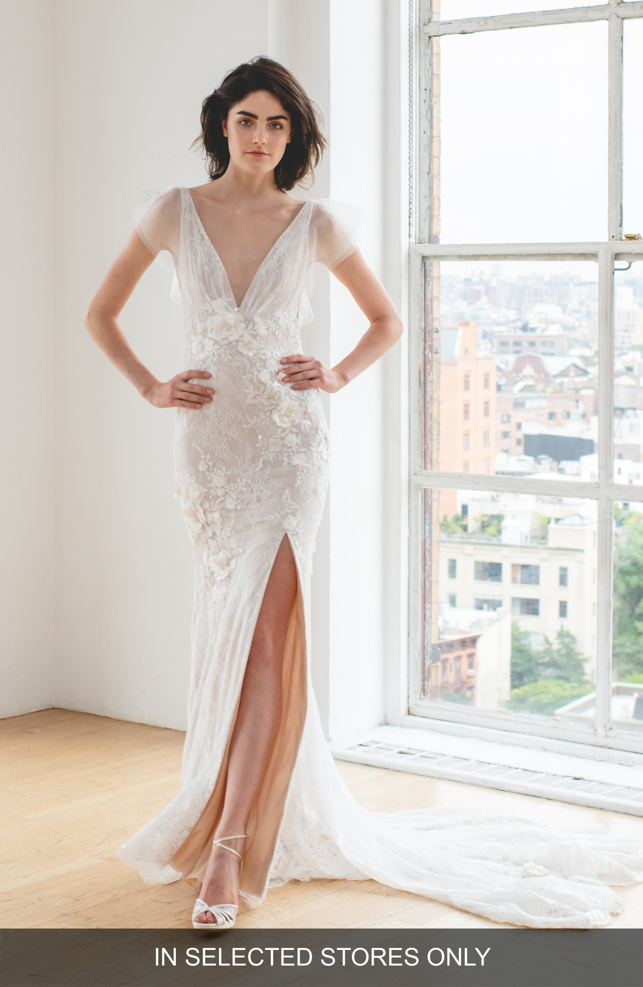 Ines By Ines Di Santo Karolina V-Neck Wedding Dress, Size IN STORE ONLY - Ivory