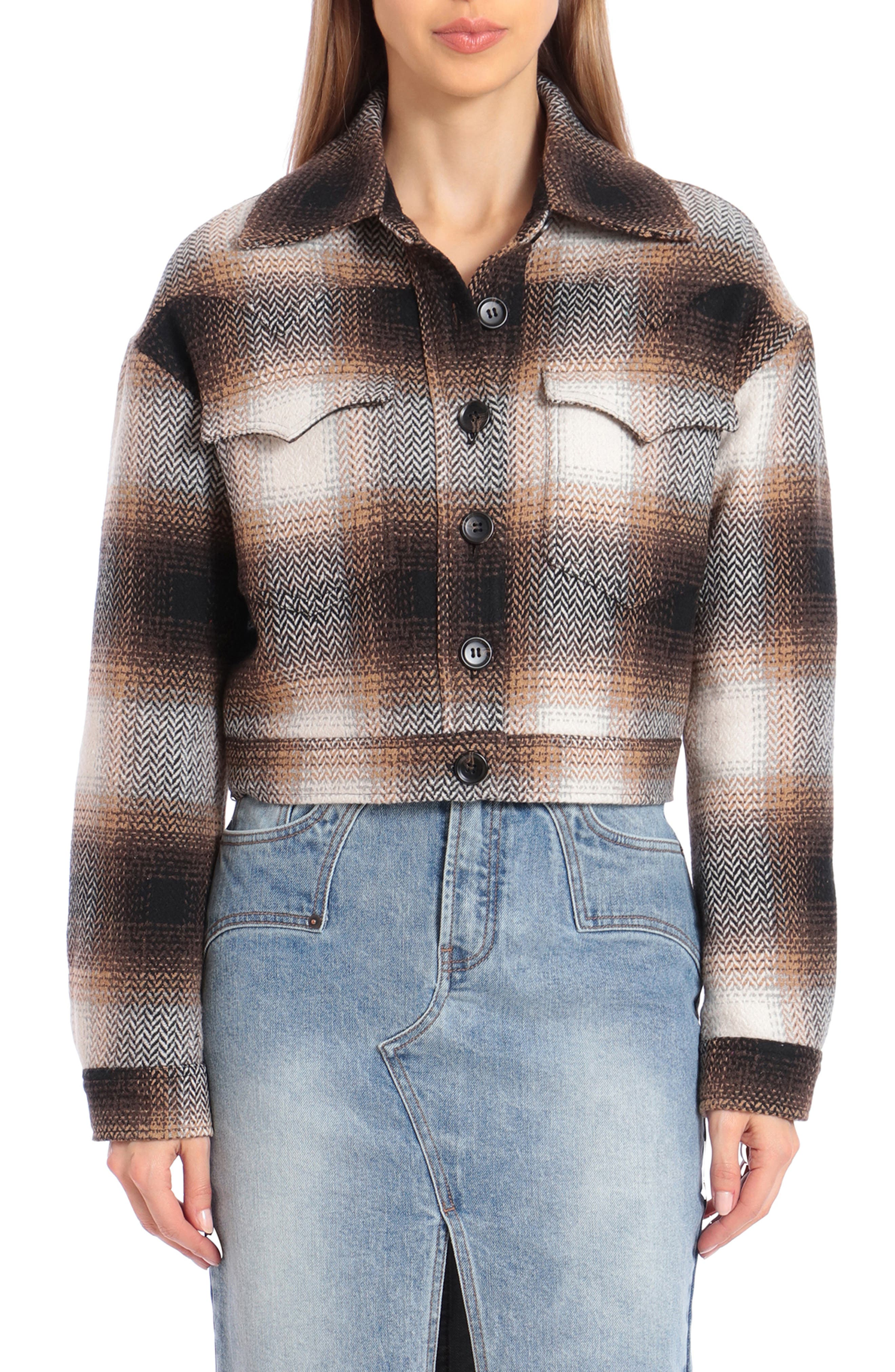 1930s Style Clothing and Fashion Womens Avec Les Filles Plaid Crop Jacket $159.00 AT vintagedancer.com