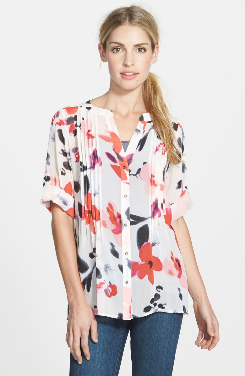 CHAUS 'Fanciful Floral' Roll Sleeve Pintuck Blouse, Main, color, 651