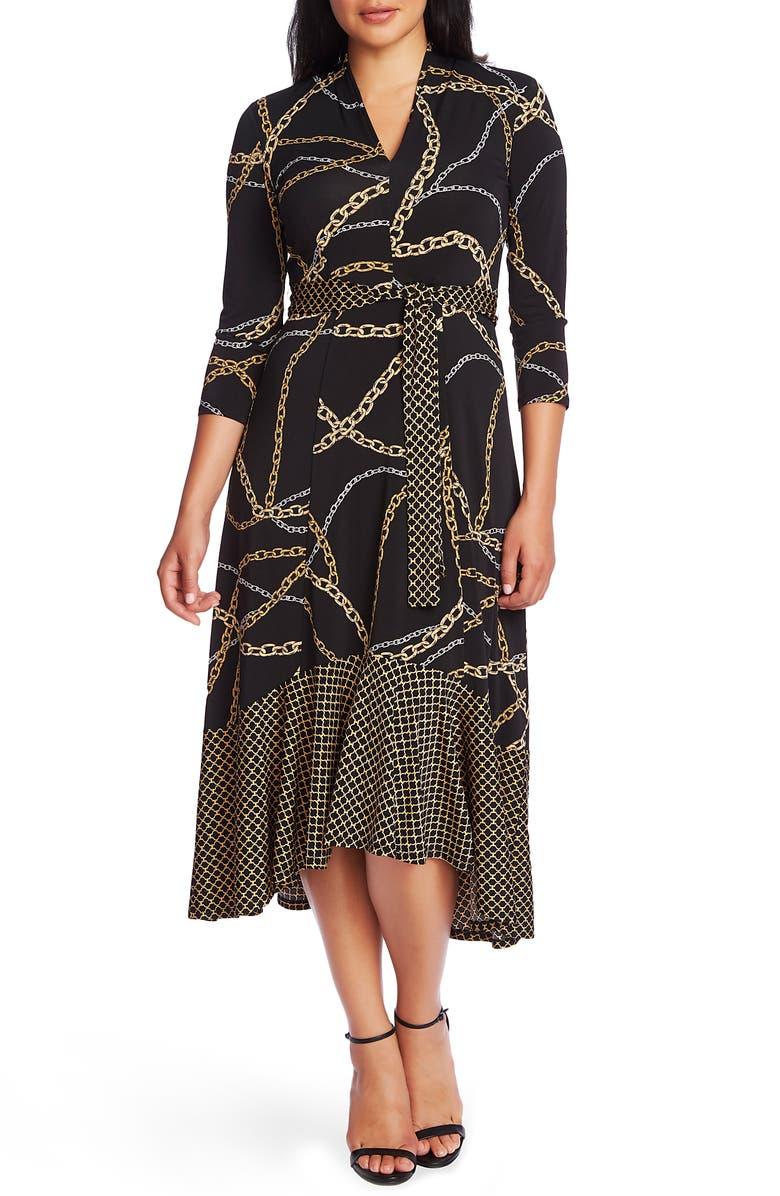 CHAUS Chain Print High/Low Midi Dress, Main, color, RICH BLACK