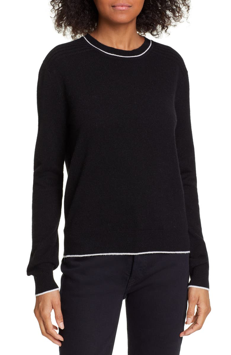 LA LIGNE Neat Wool & Cashmere Sweater, Main, color, BLACK/ CREAM