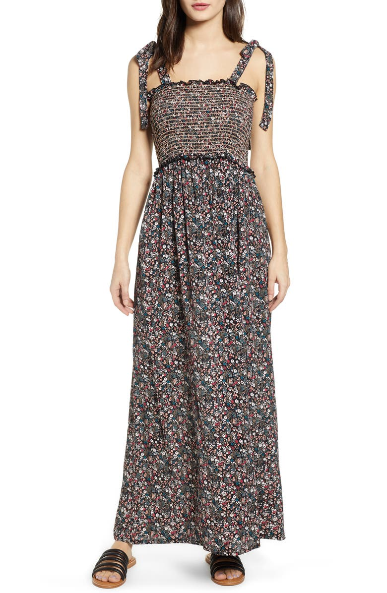 ANGIE Tie Strap Floral Smocked Maxi Dress, Main, color, 001