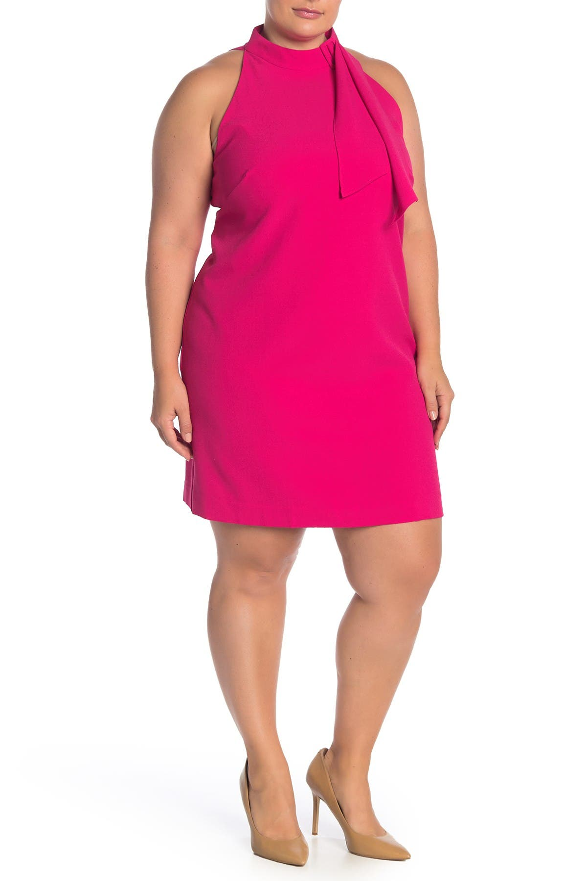 Image of Vince Camuto Tied Mock Neck Shift Dress