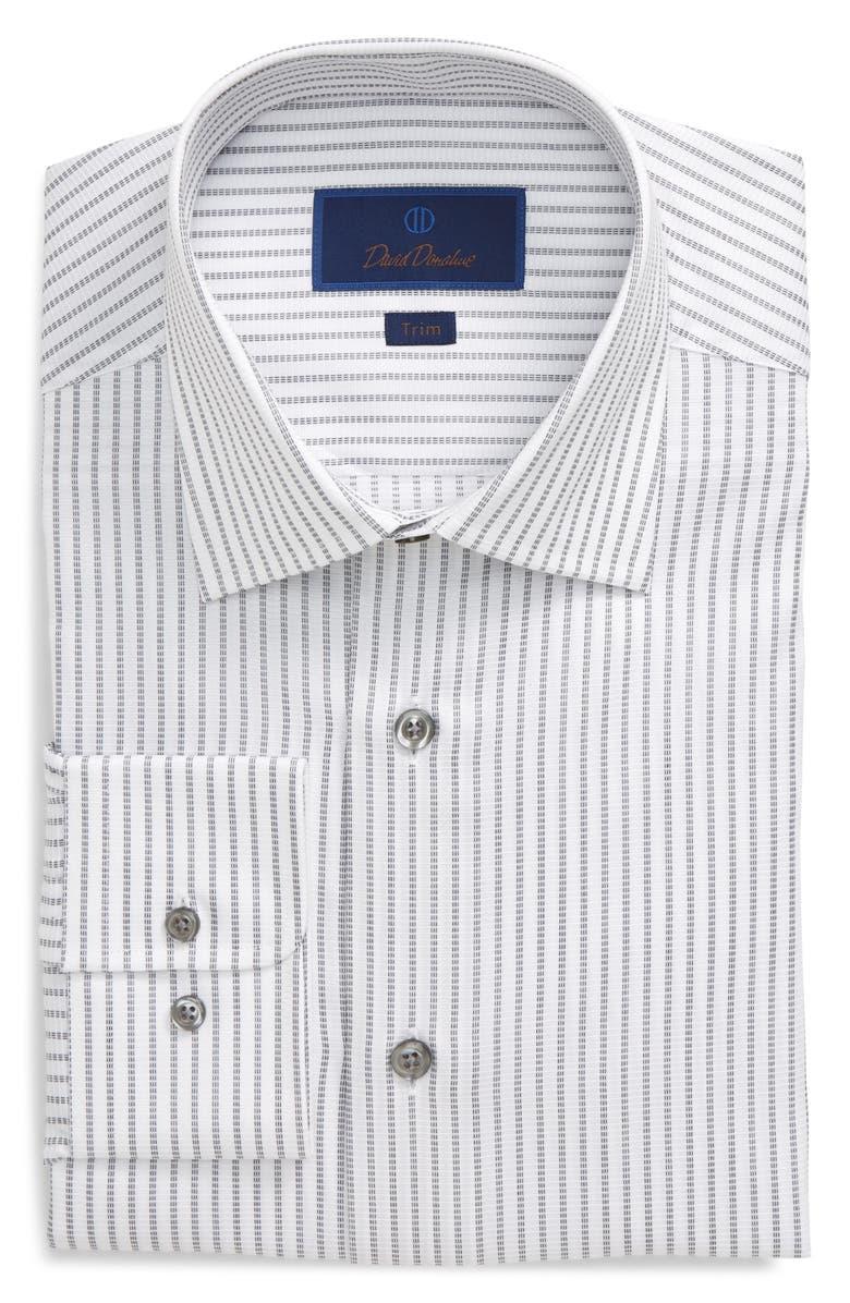 DAVID DONAHUE Trim Fit Stripe Dress Shirt, Main, color, WHITE/ GREY