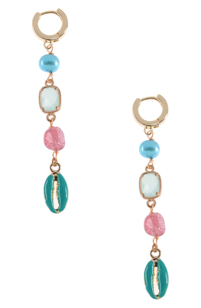 NAKAMOL CHICAGO Cultured Pearl & Shell Linear Drop Earrings, Main, color, GOLD/ GREEN/ BLUE
