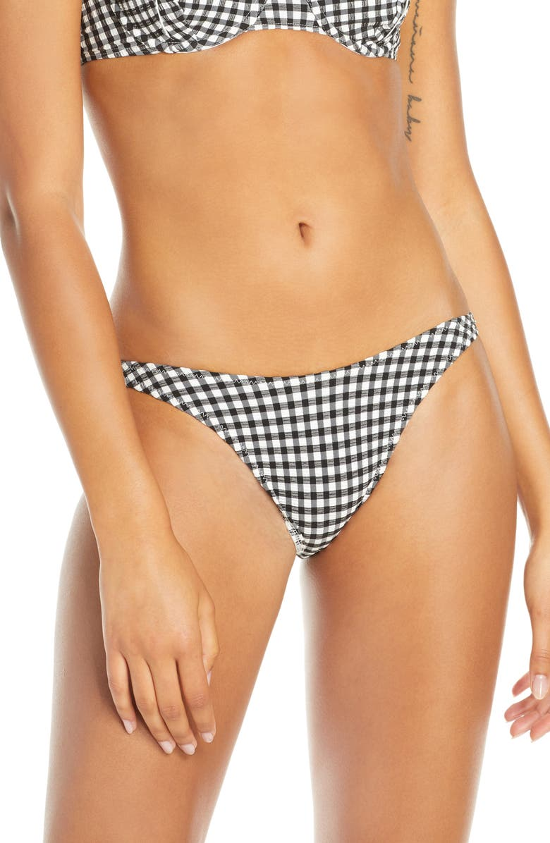 SOLID & STRIPED The Eloise Gingham Bikini Bottoms, Main, color, BLACK GINGHAM