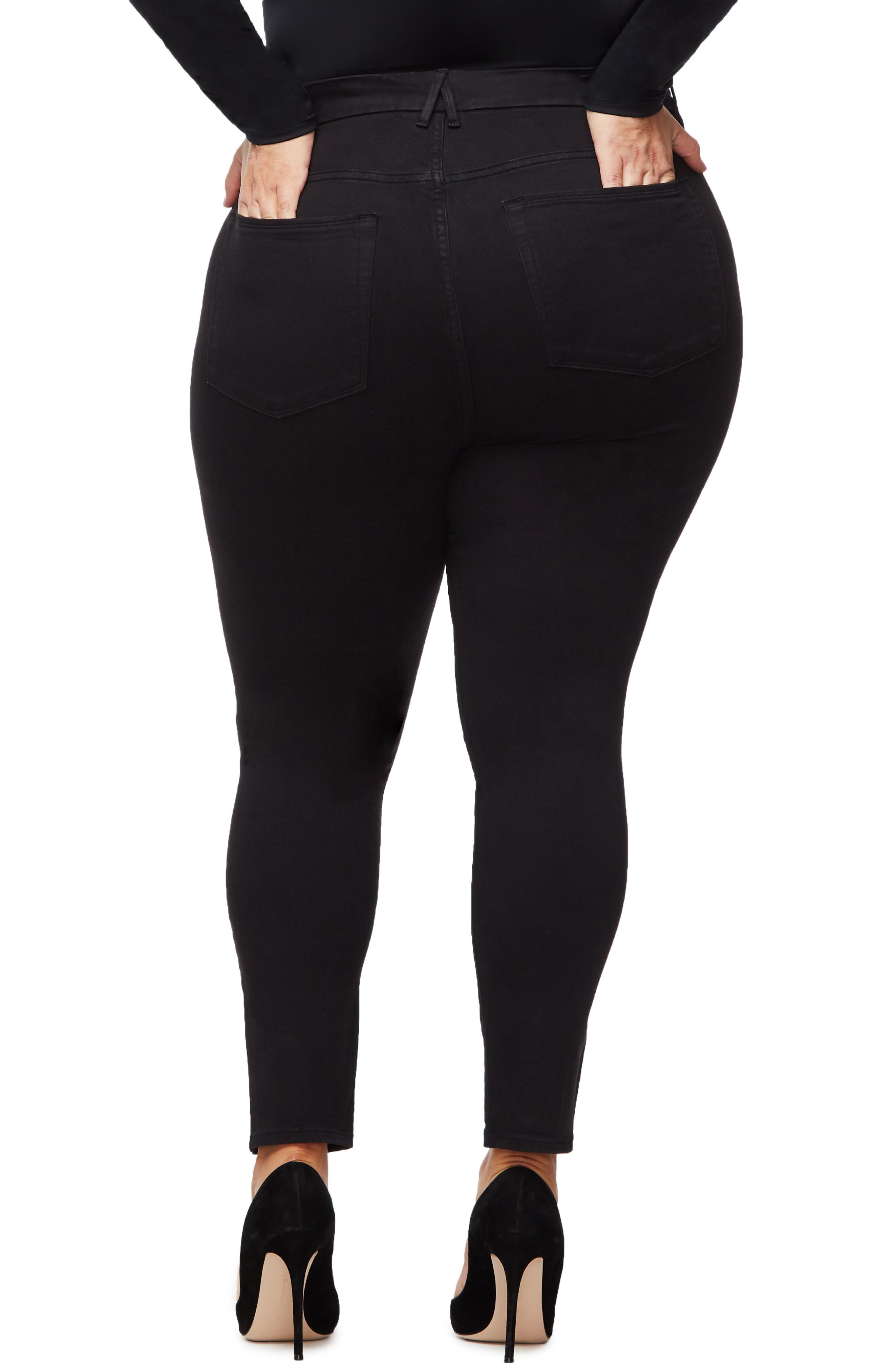 ,                             Good Legs Split Hem Ankle Skinny Jeans,                             Alternate thumbnail 5, color,                             BLACK001