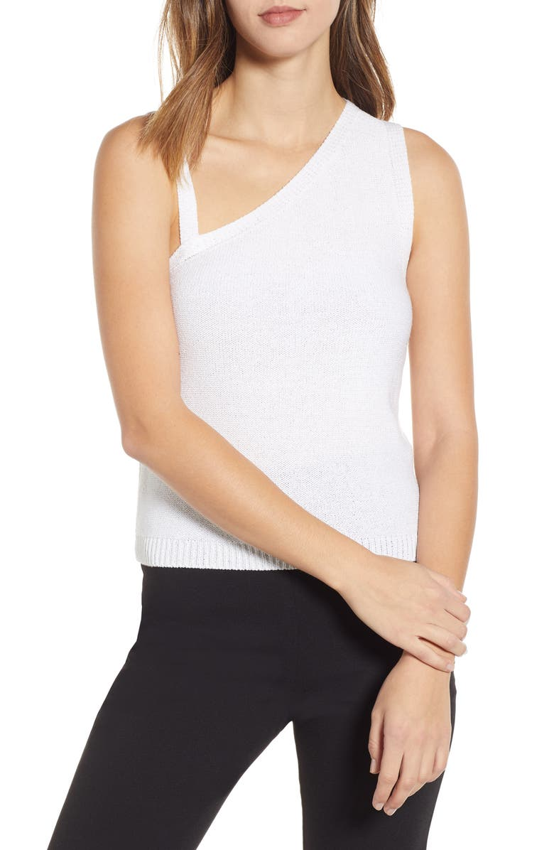 ENGLISH FACTORY Asymmetrical Knit Camisole, Main, color, WHITE