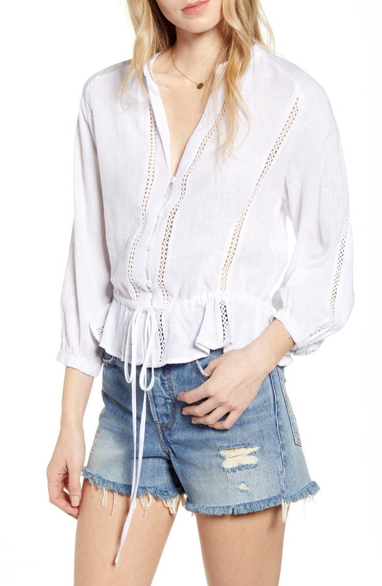 RAILS Marti Stripe Blouse, Main, color, WHITE LACE DETAIL