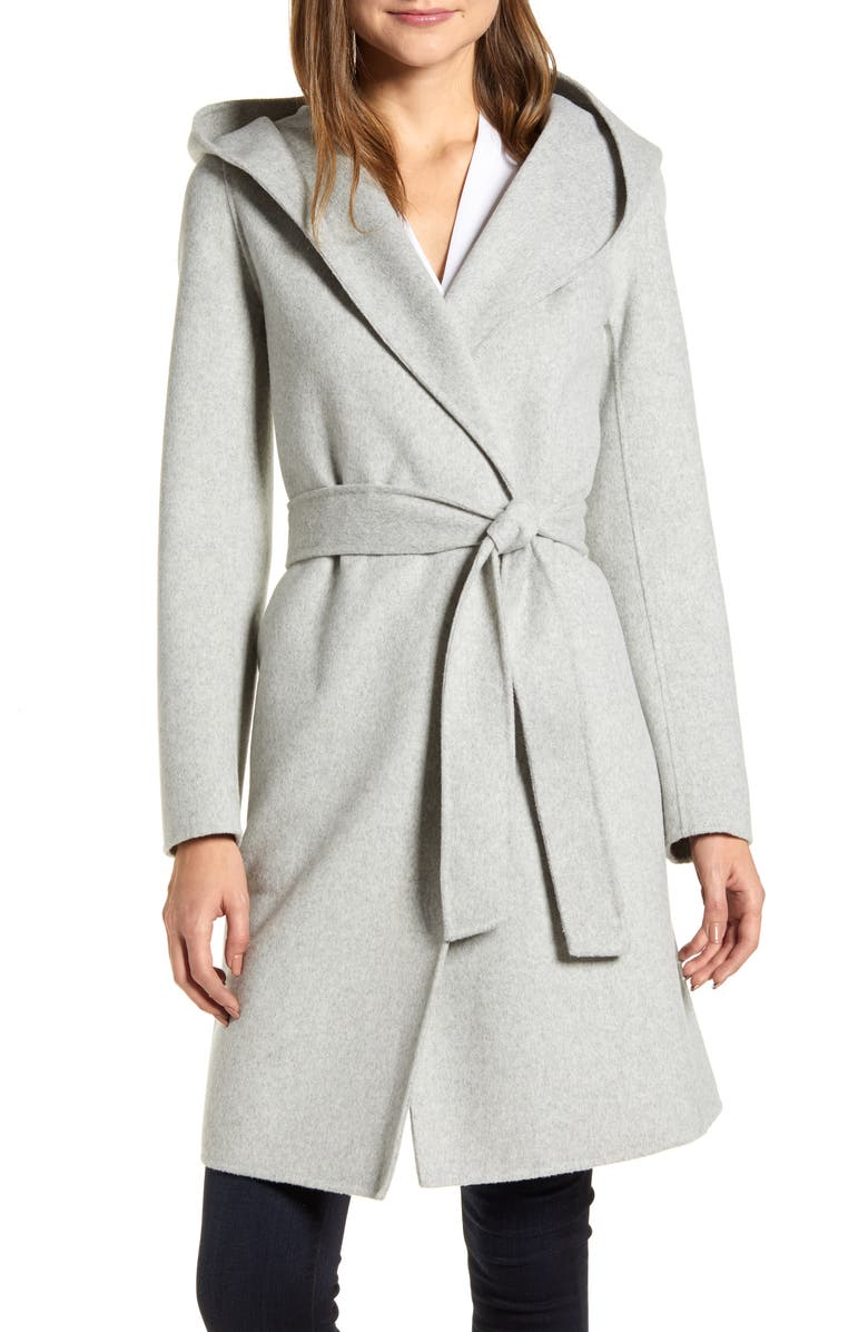 LAMARQUE Hooded Wool Blend Coat, Main, color, LIGHT GREY