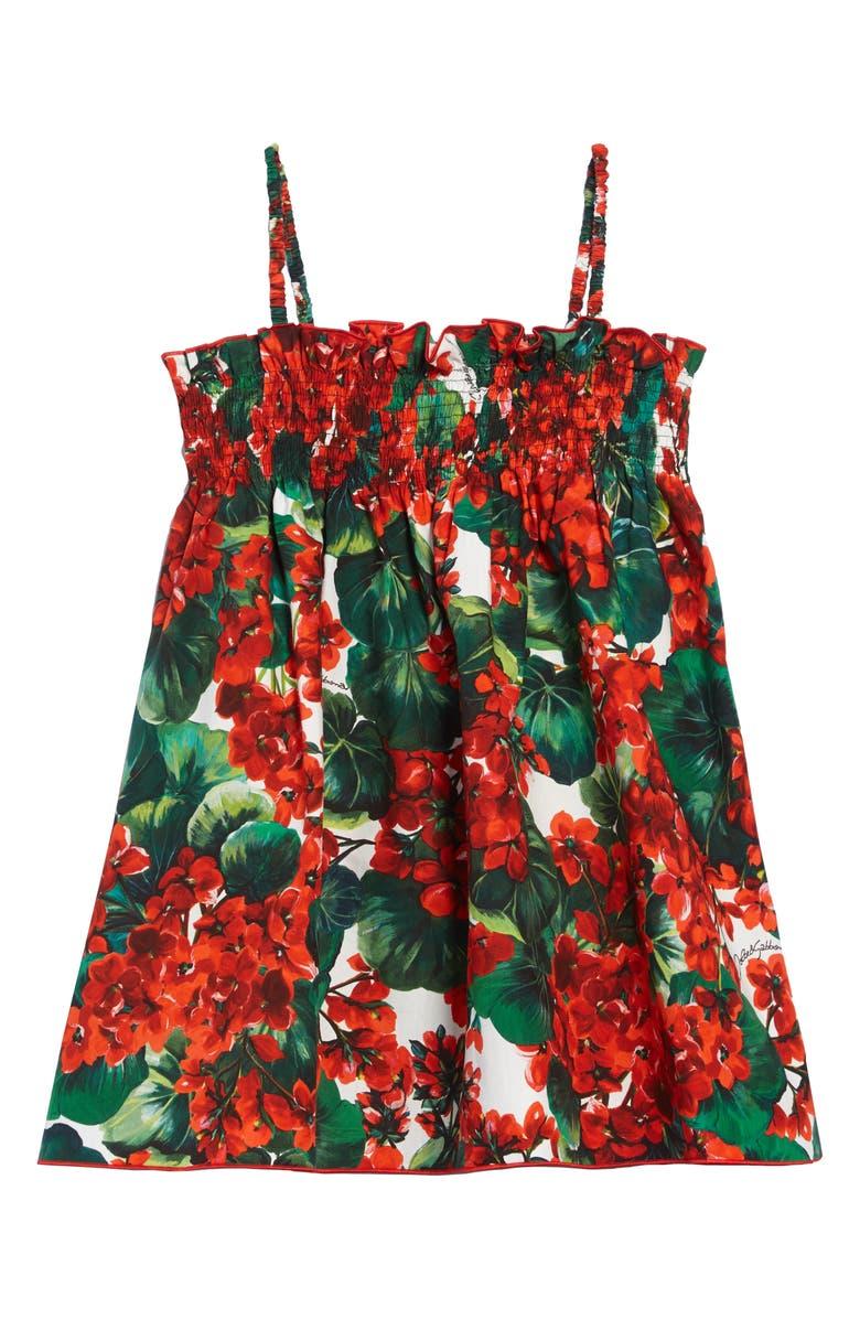 DOLCE&GABBANA Floral Print Sundress, Main, color, MULTI PRINT