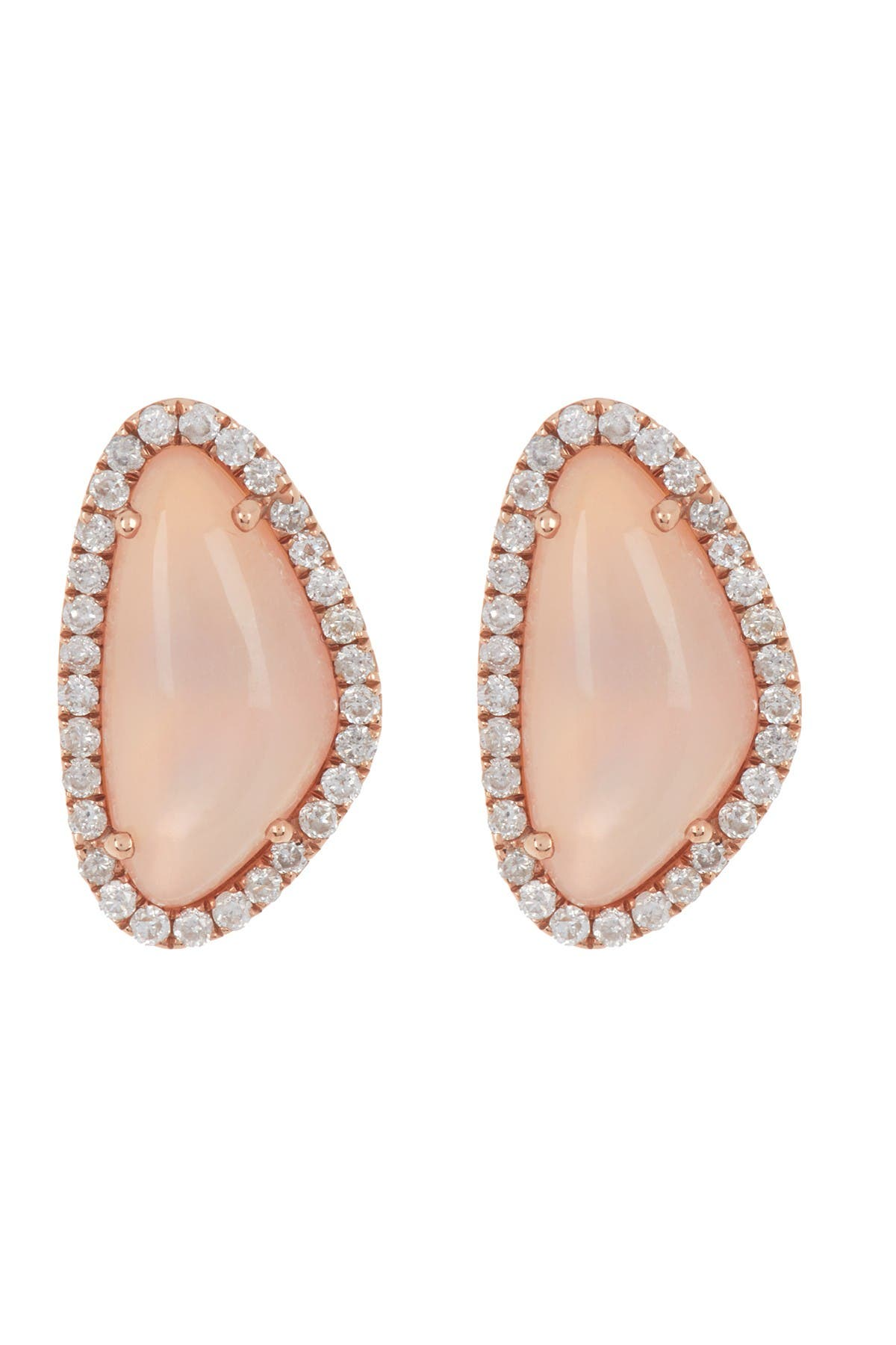 Image of Meira T 14K Rose Gold Rose Quartz & Diamond Stud Earrings