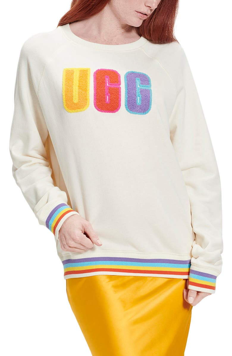 UGG<SUP>®</SUP> Fuzzy Logo Crewneck Sweatshirt, Main, color, RAINBOW STRIPES