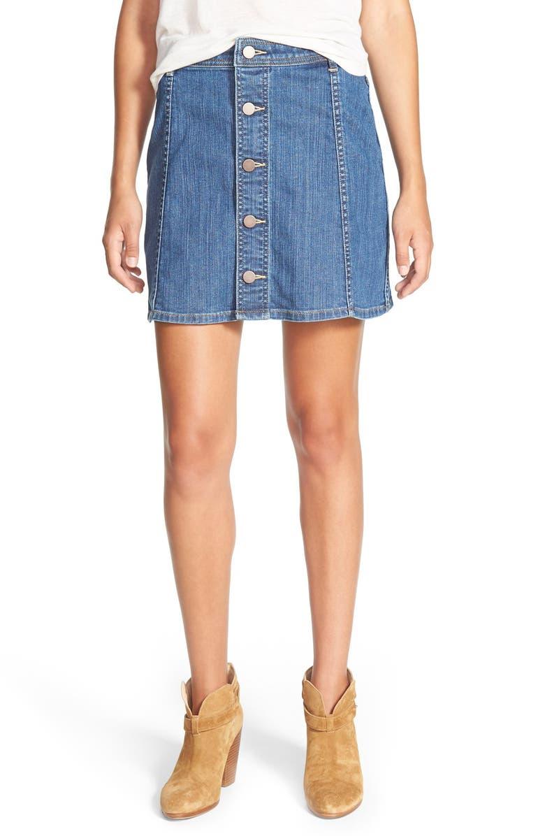 HINGE Button Front Denim Skirt, Main, color, 400