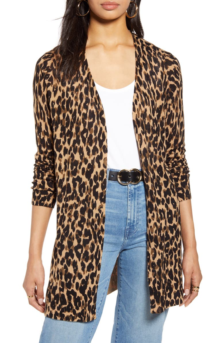 HALOGEN<SUP>®</SUP> Leopard Print Linen Blend Cardigan, Main, color, TAUPE ANIMALIA PRINT