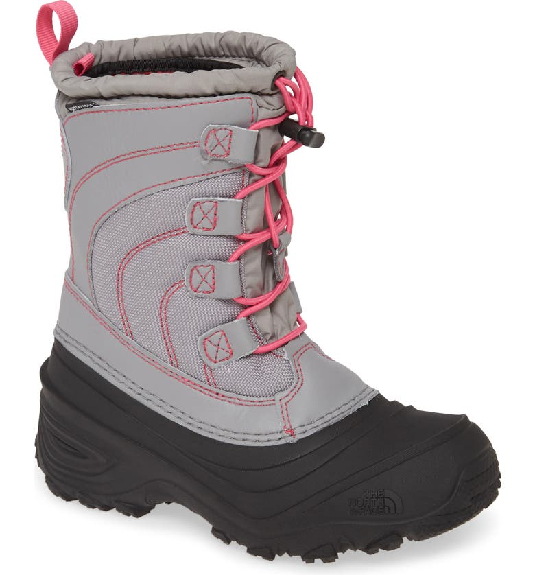 THE NORTH FACE 'Alpenglow IV' Bungee Lace Waterproof Boot, Main, color, FROST GREY/ MR. PINK