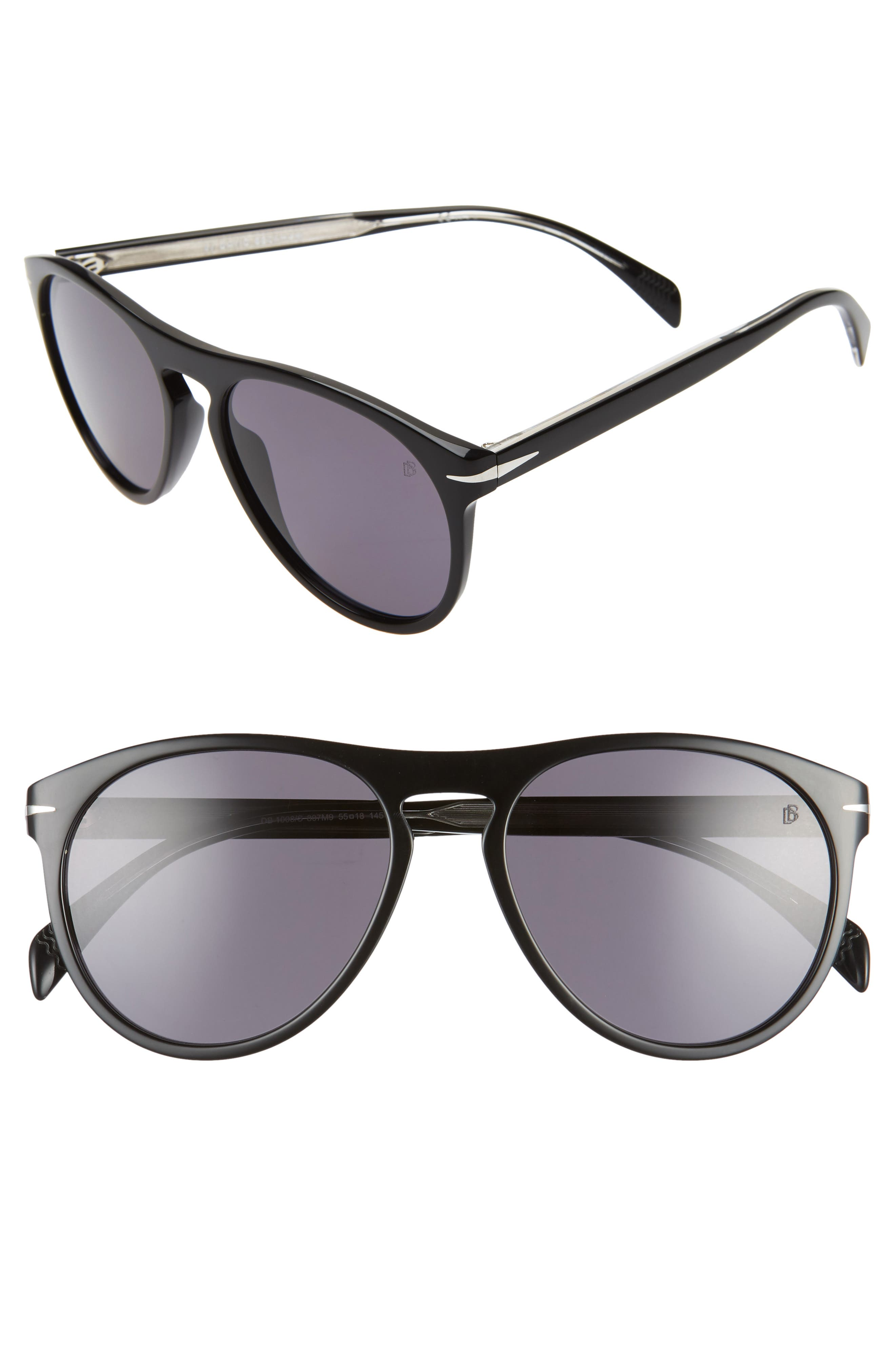 Men's Eyewear By David Beckham Db1008/s 55mm Round Keyhole Sunglasses