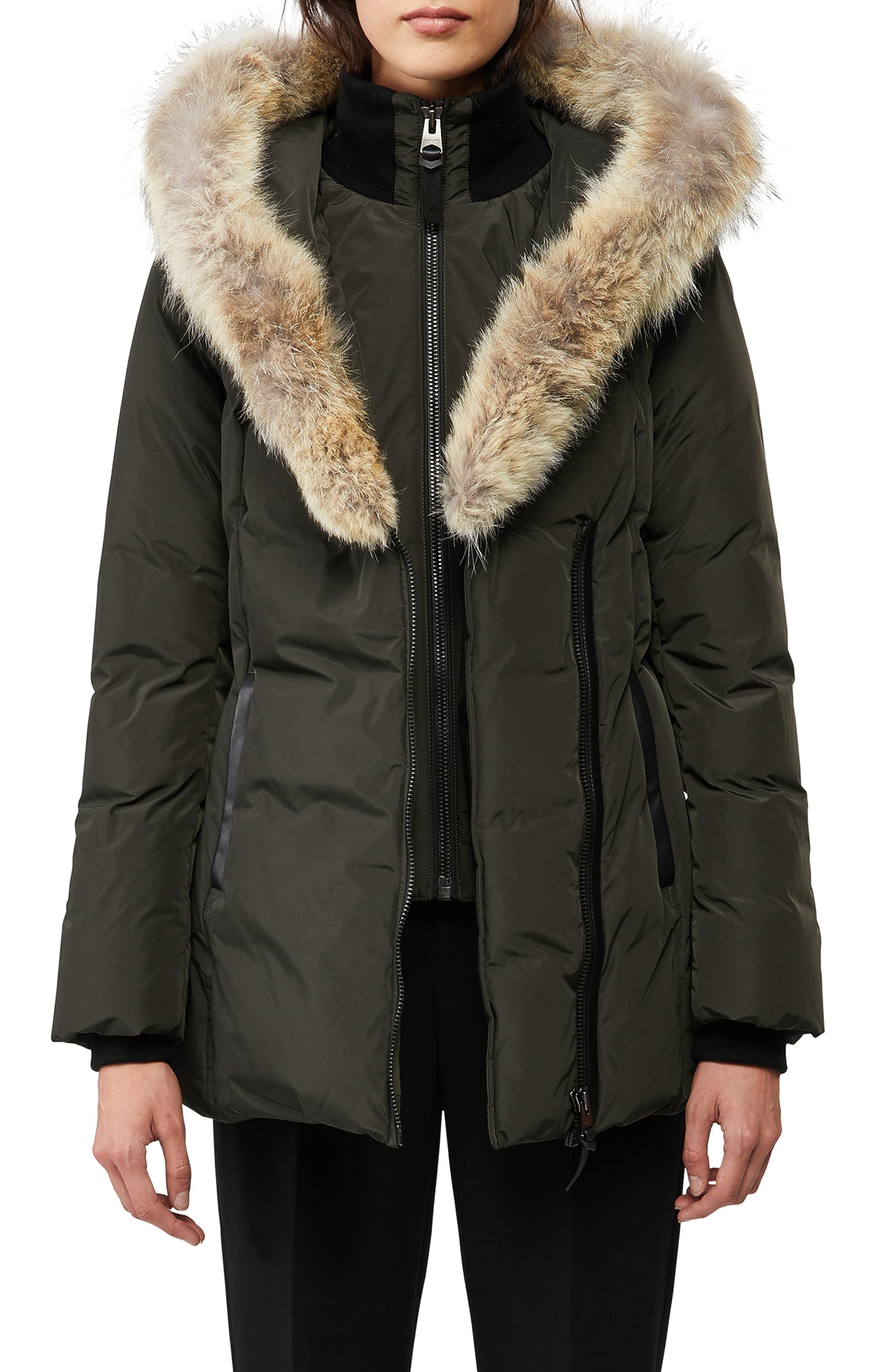 Women's Mackage Adali Genuine Coyote Fur Trim Down Coat,  XX-Small - Green