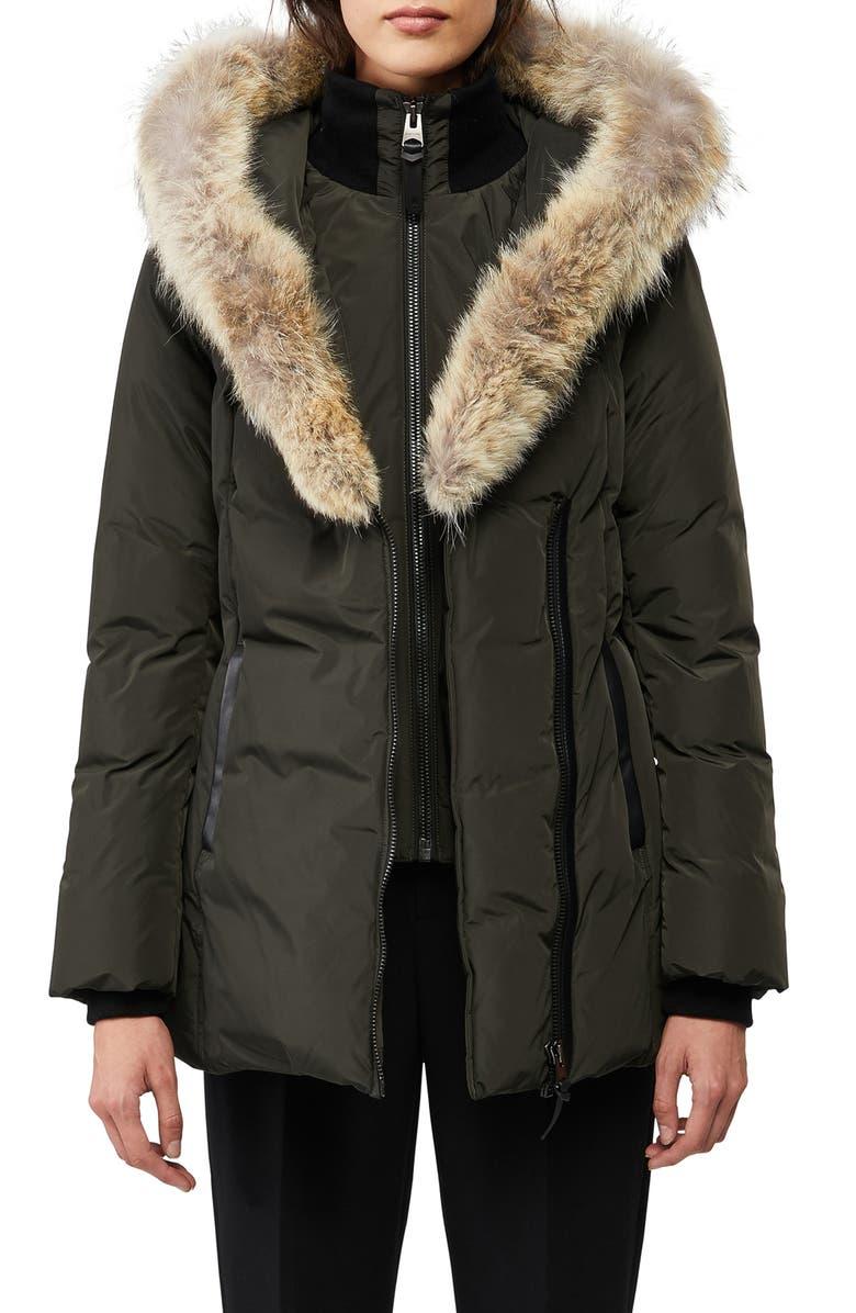 MACKAGE Adali Genuine Coyote Fur Trim Down Coat, Main, color, ARMY