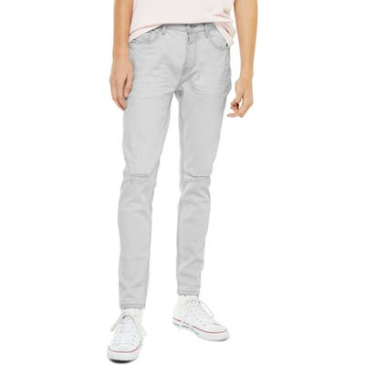 Topman Axl Ripped Skinny Jeans, Grey