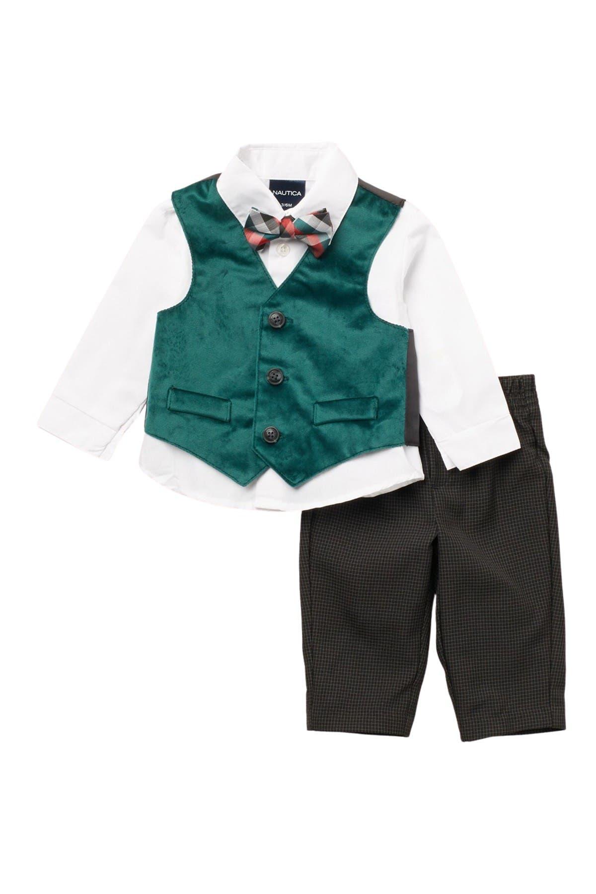Image of Nautica Holiday Velvet Green Velvet Vest 3-Piece Set