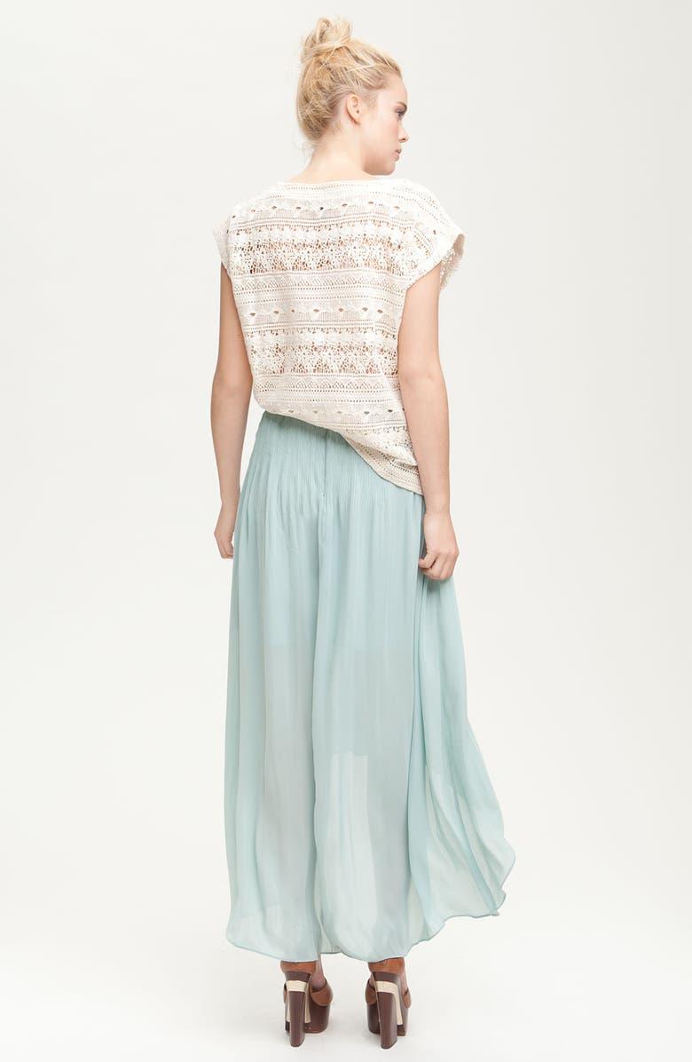 SANCTUARY 'Leotie' Crinkled Asymmetric Maxi Skirt, Main, color, 440