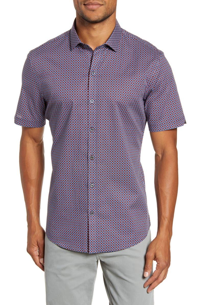 ZACHARY PRELL Tafuto Regular Fit Geo Print Short Sleeve Button-Up Sport Shirt, Main, color, RED