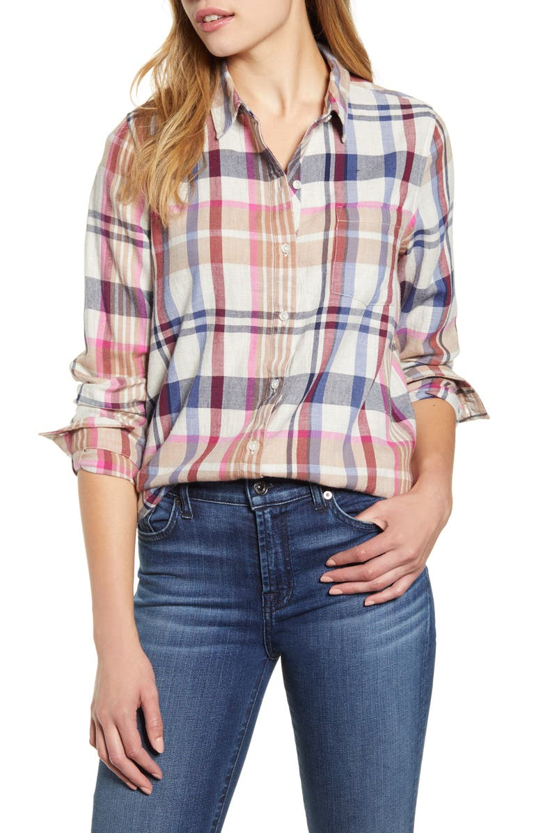LUCKY BRAND Classic One-Pocket Plaid Shirt, Main, color, NATURAL MULTI