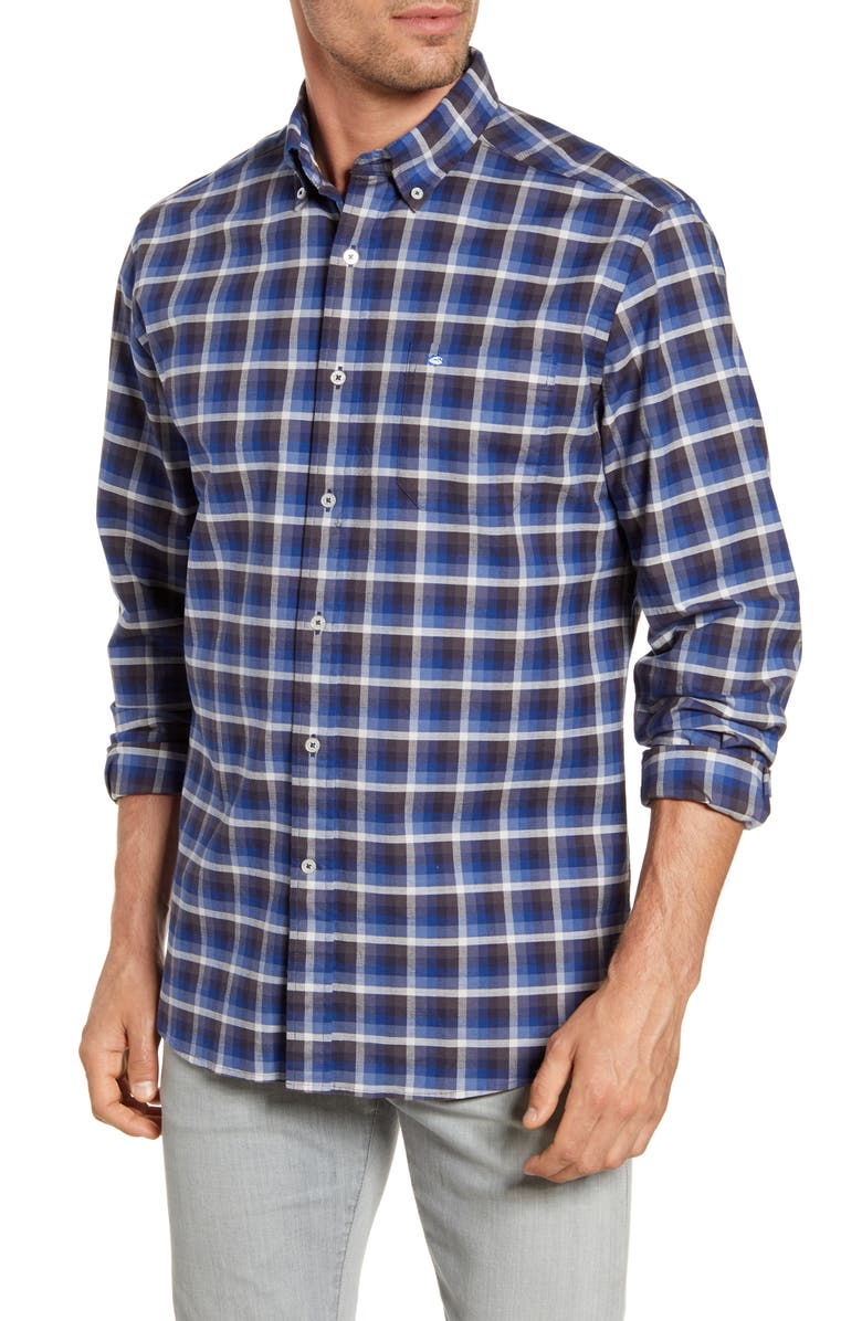 SOUTHERN TIDE Outboard Regular Fit Plaid Button-Down Oxford Shirt, Main, color, SEVEN SEAS BLUE