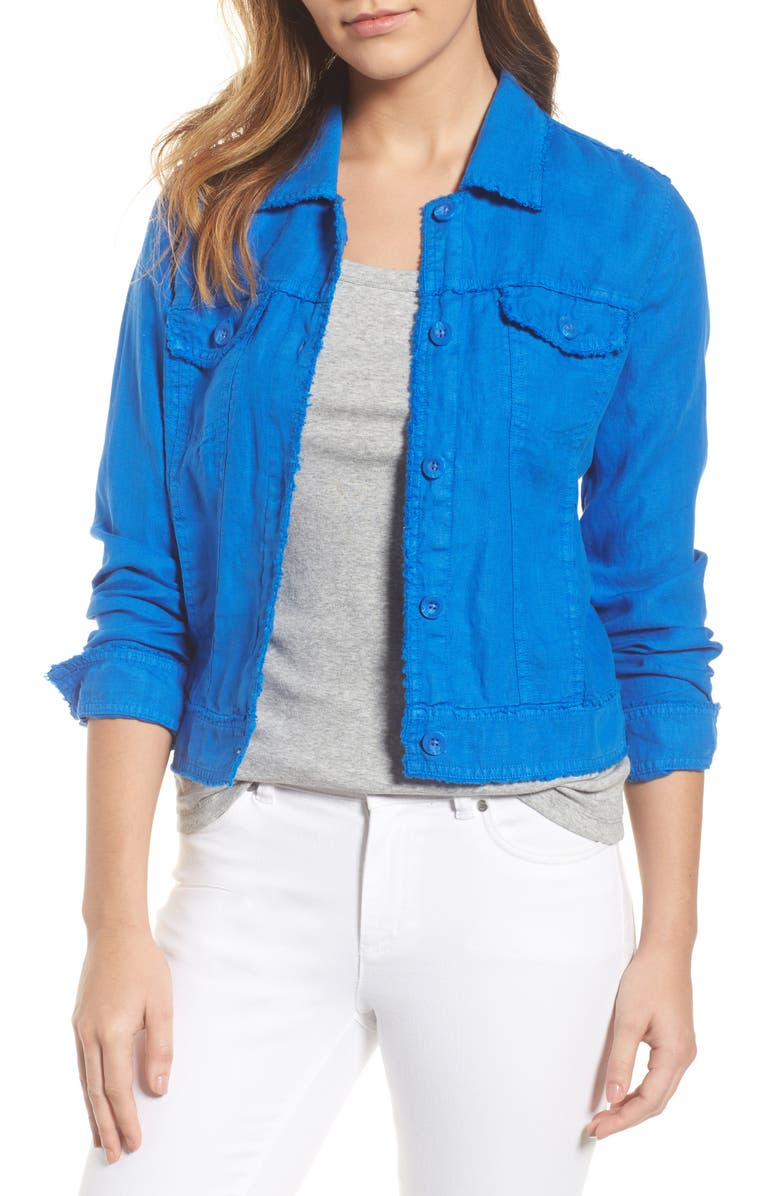 TOMMY BAHAMA 'Two Palms' Linen Raw Edge Jacket, Main, color, COBALT