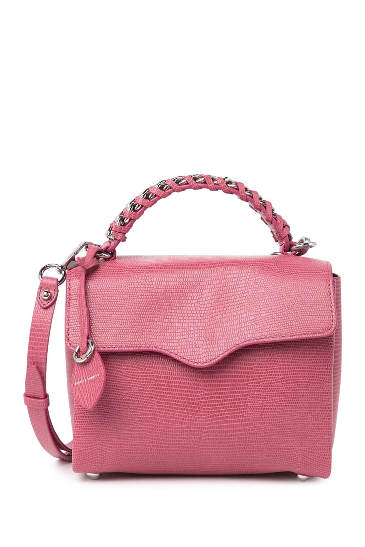 Image of Rebecca Minkoff Lizard Embossed Chain Strap Leather Satchel