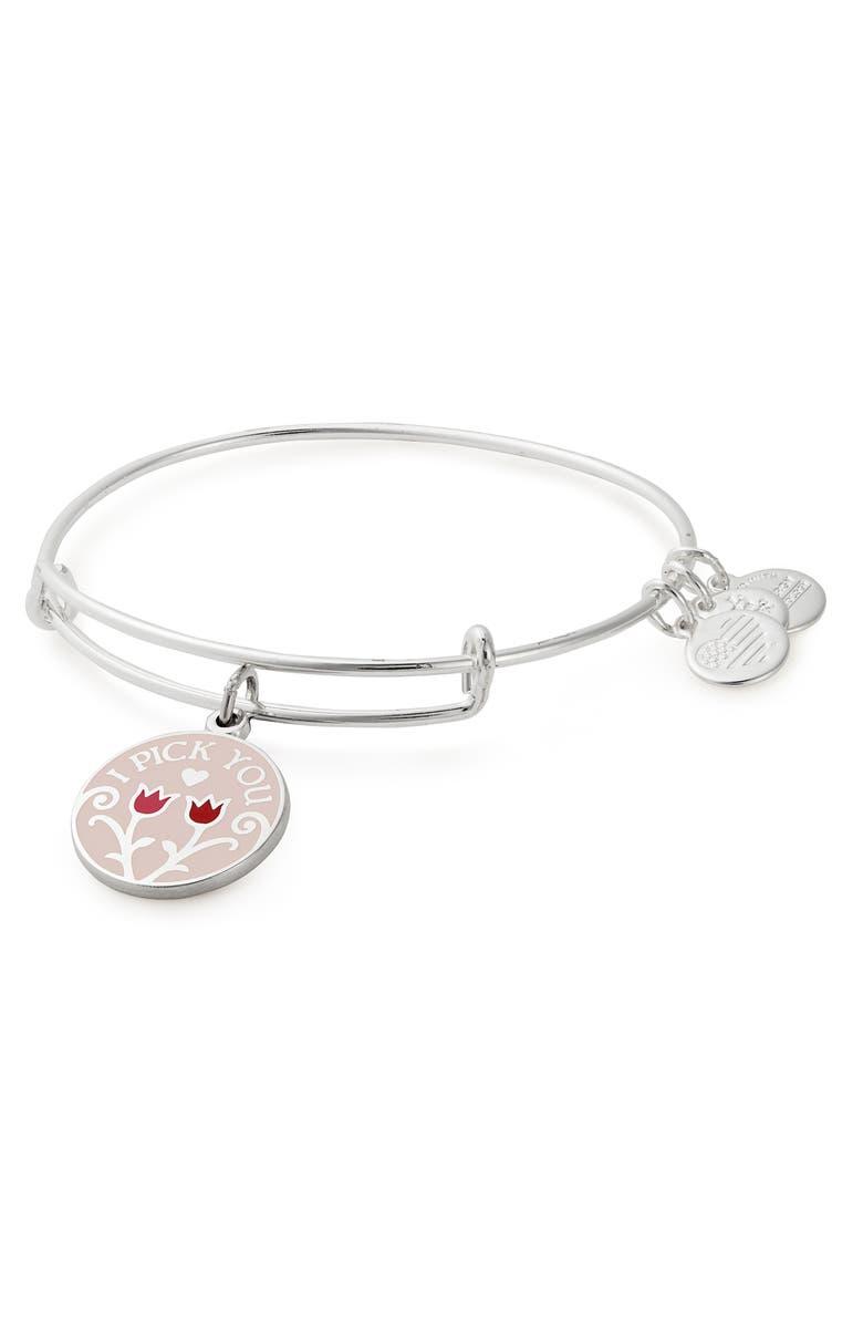 ALEX AND ANI Color Infusion I Pick You Charm Expandable Bracelet, Main, color, SHINY SILVER