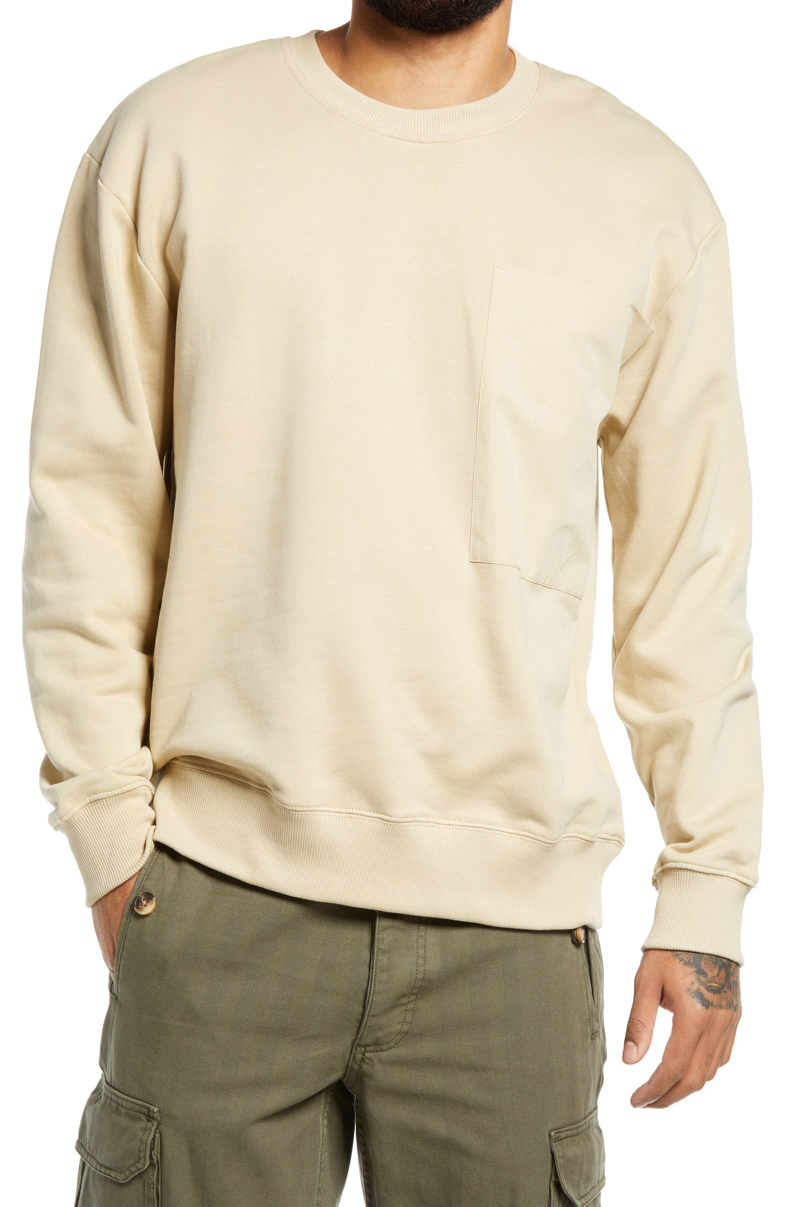 This wear-all-weekend sweatshirt done in a neutral hue has a relaxed vibe and a handy chest pocket. Style Name: Topman Pocket Cotton Sweatshirt. Style Number: 6155790. Available in stores.