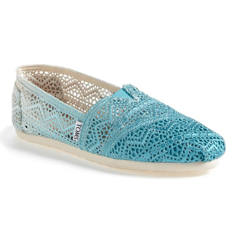TOMS 'Classic - Dip-Dyed' Crochet Slip-On, Main, color, BALTIC DIP DYED