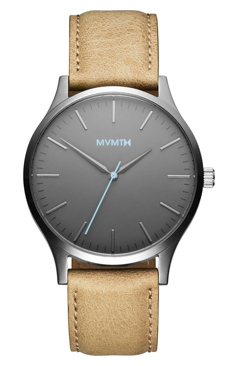 MVMT 40 Series Leather Strap Watch, 40mm, Main, color, TAN/ GREY/ SILVER