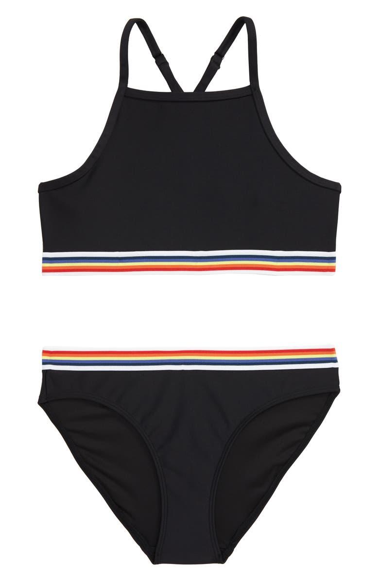 ZELLA GIRL Pop Trim Two-Piece Swimsuit, Main, color, 001