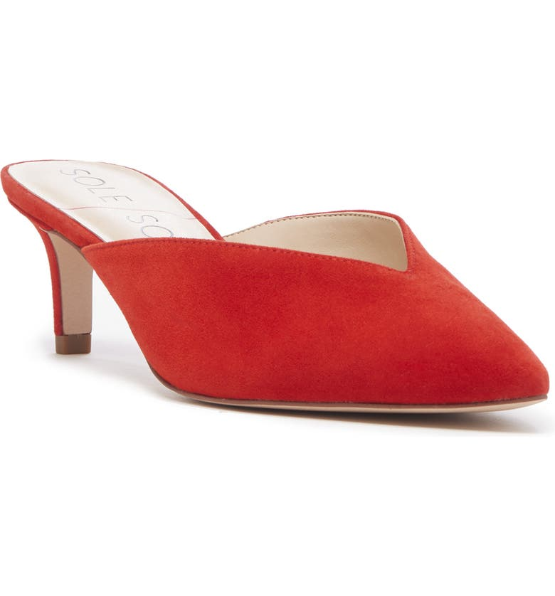 SOLE SOCIETY Maleah Pointy Toe Mule, Main, color, BRIGHT RED SUEDE