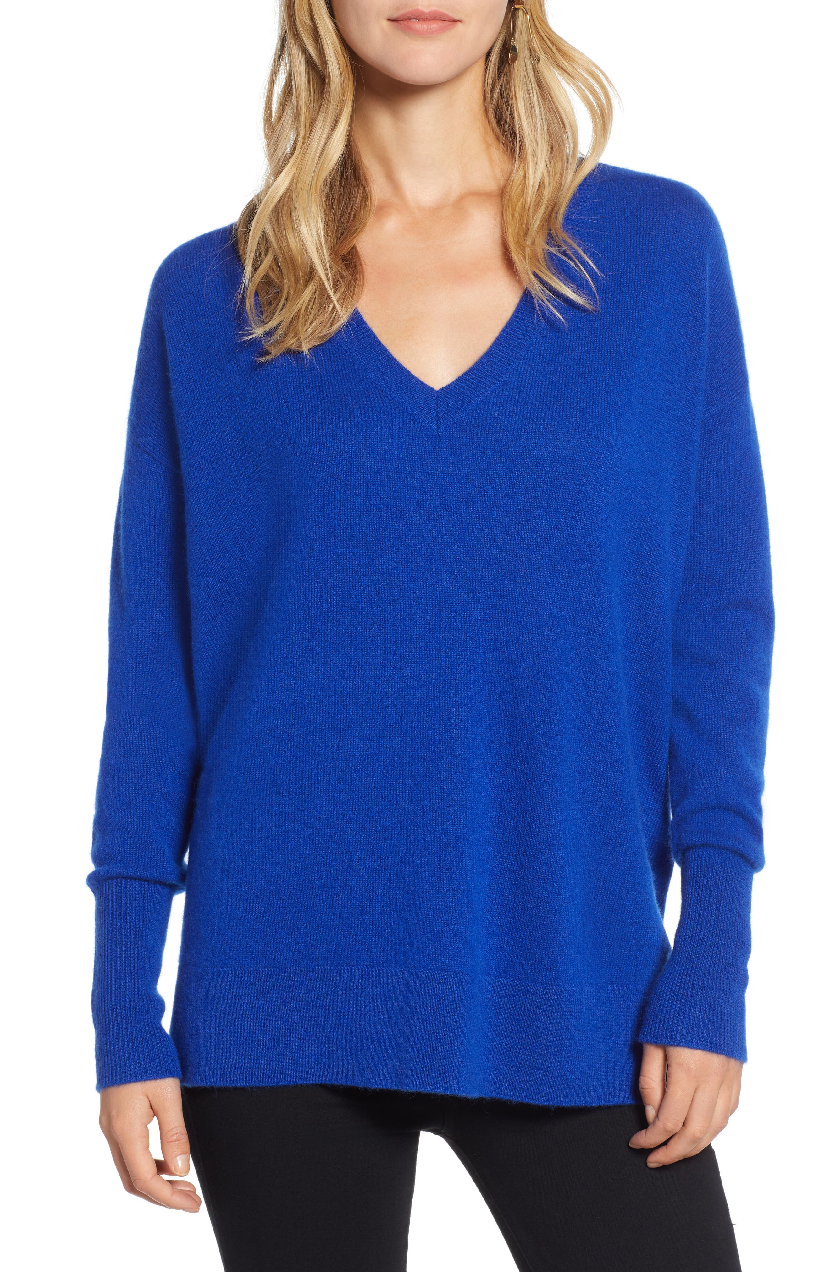 ,                             Relaxed V-Neck Cashmere Sweater,                             Main thumbnail 43, color,                             400
