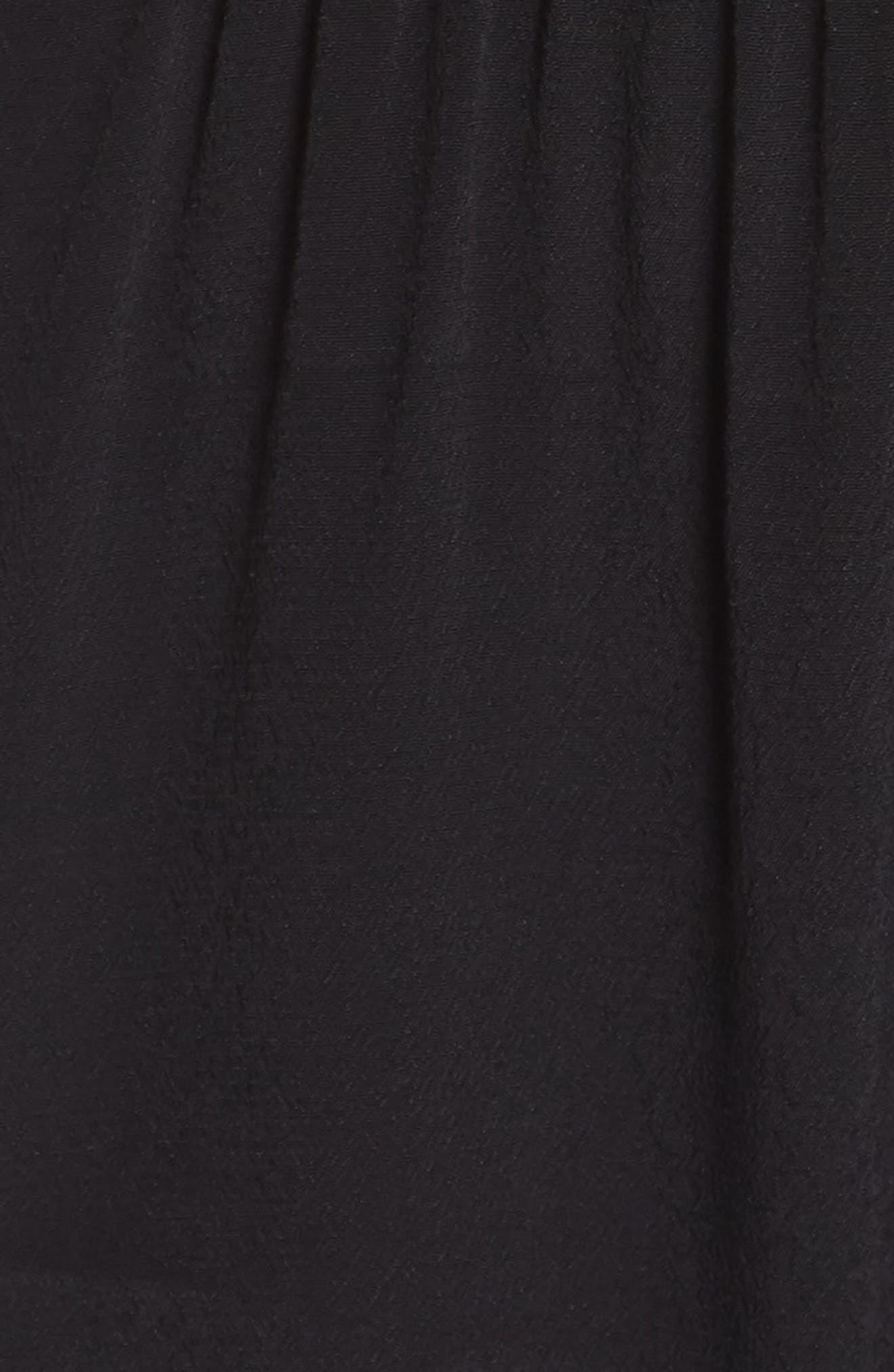 ,                             Ruffle Cold Shoulder Jumpsuit,                             Alternate thumbnail 6, color,                             BLACK