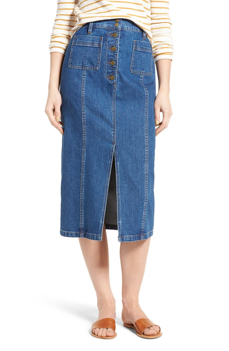 f8c632ab3a Madewell High Slit Denim Midi Skirt | Nordstrom