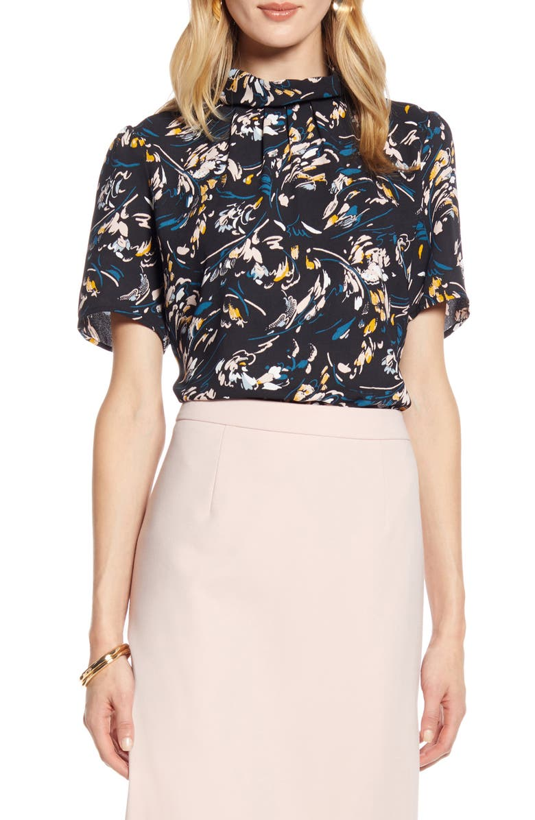 HALOGEN<SUP>®</SUP> Floral Print Pleated Neck Top, Main, color, 001