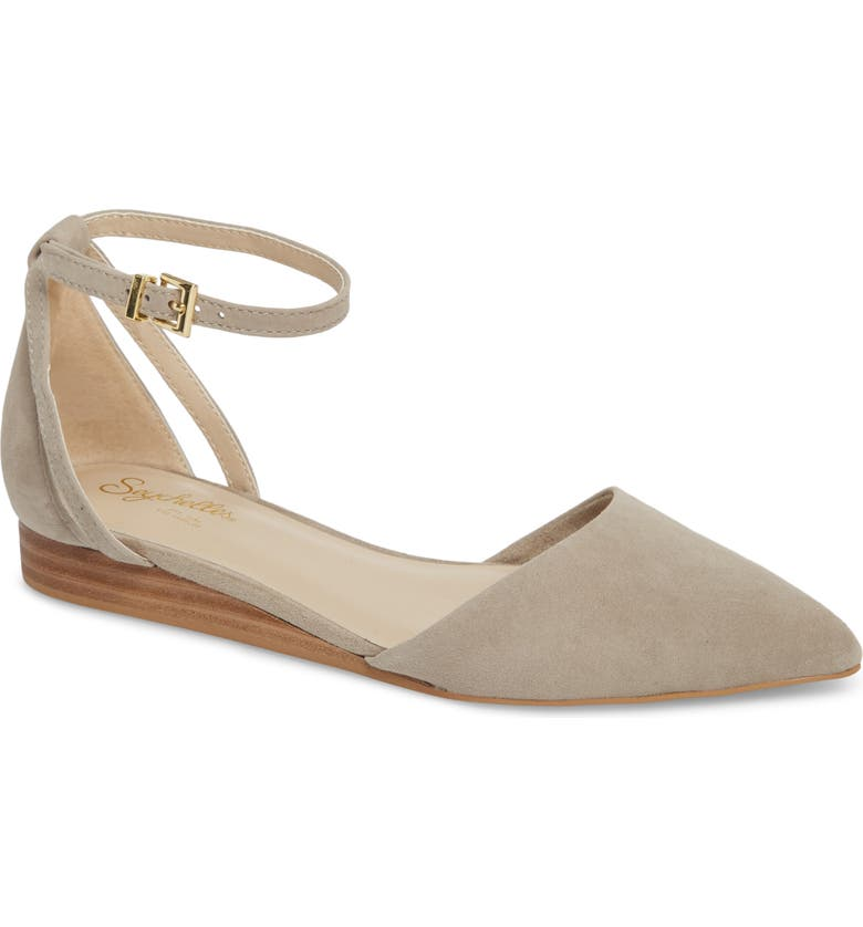 SEYCHELLES Plateau Ankle Strap Flat, Main, color, TAUPE SUEDE