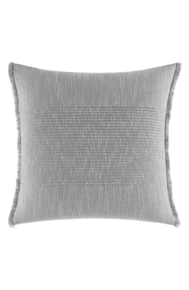 NAUTICA l Bronwell Fringe Pleated Accent Pillow, Main, color, LIGHT GREY