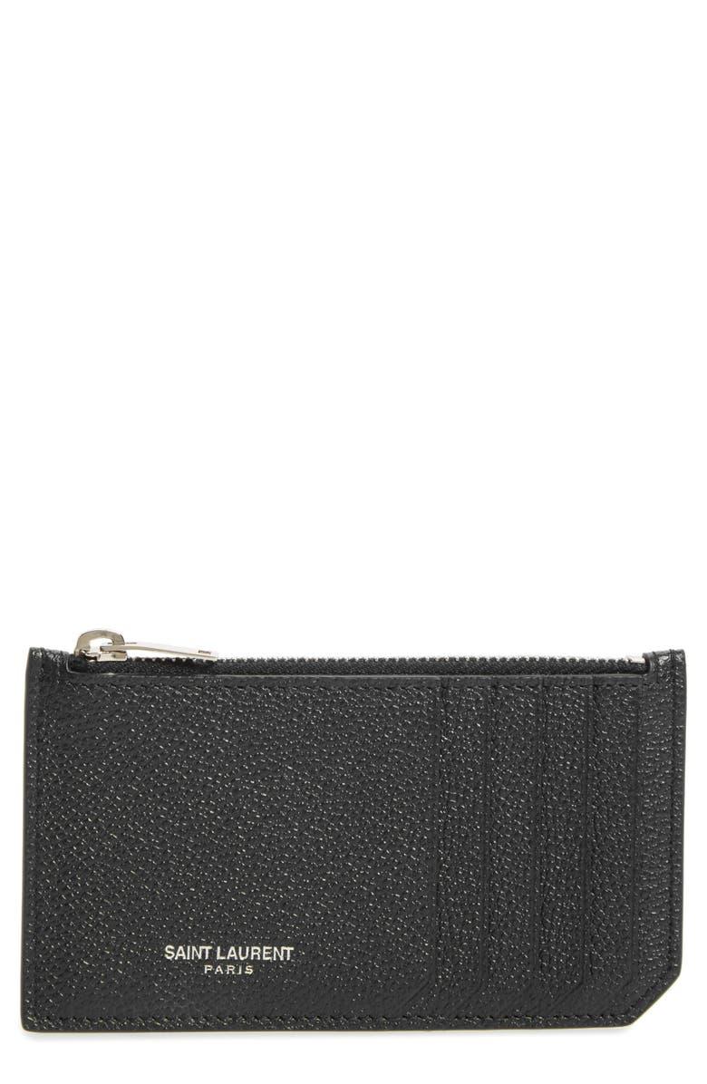 SAINT LAURENT Leather Zip Wallet, Main, color, NOIR