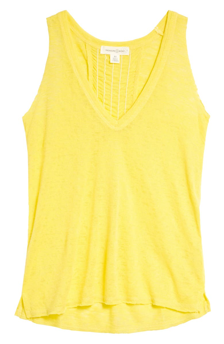 TREASURE & BOND Ruched Back Tank, Main, color, YELLOW CELANDINE