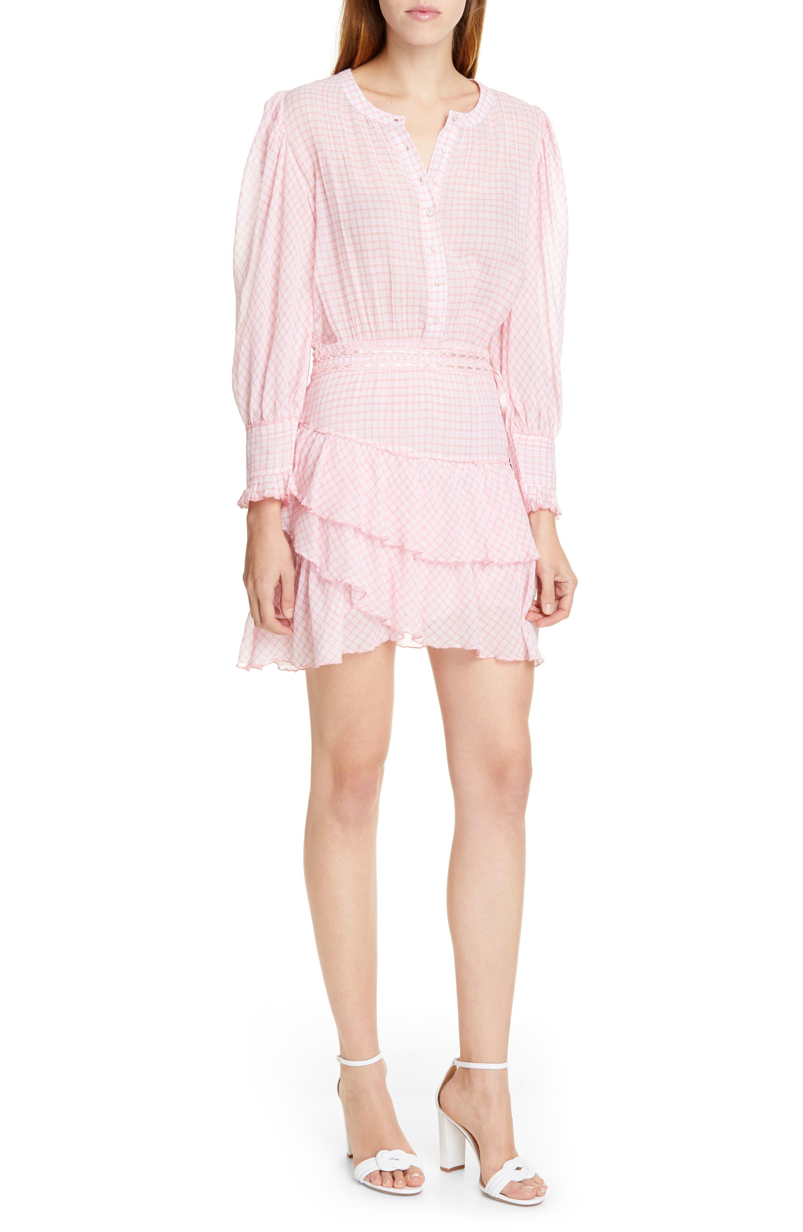 Loveshackfancy Lorelei Ruffle Detail Long Sleeve Cotton Minidress, Pink