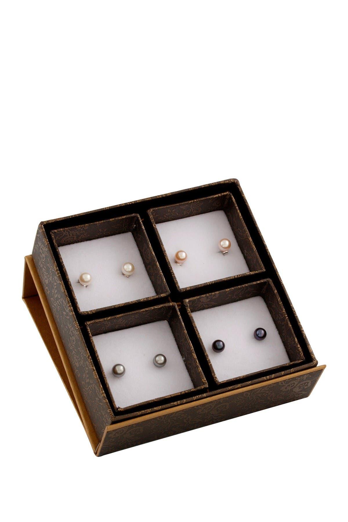 Image of Splendid Pearls Assorted Multicolor 6-6.5mm Pearl Stud Earrings Set
