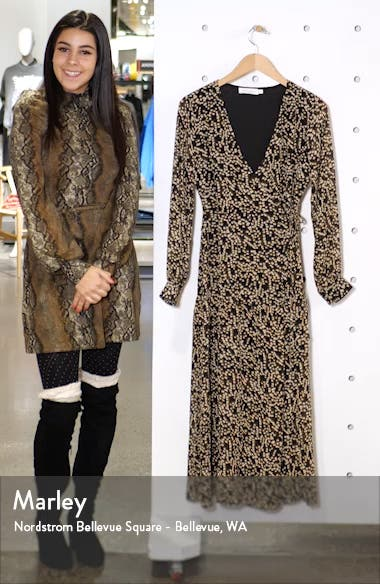 Print Long Sleeve Faux Wrap Midi Dress, sales video thumbnail