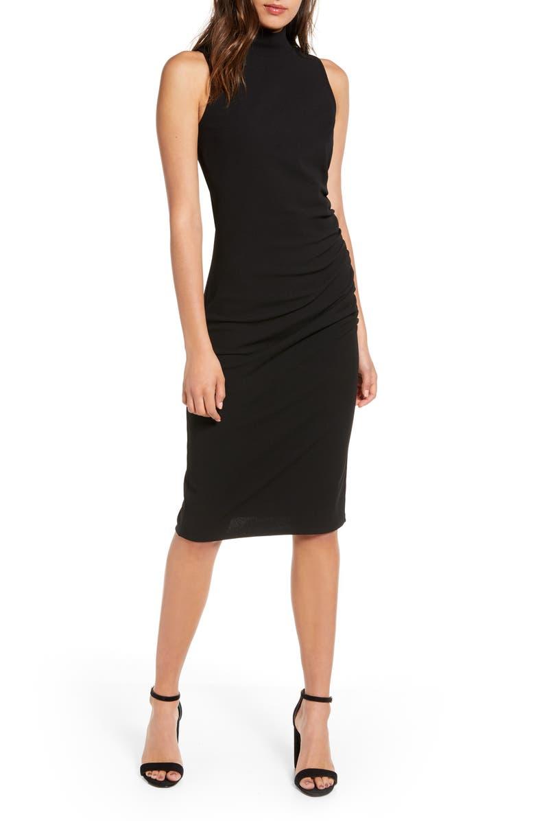CHELSEA28 Mock Neck Sheath Dress, Main, color, BLACK
