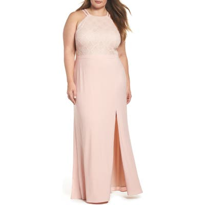 Plus Size Morgan & Co. Lace Bodice Gown, Pink